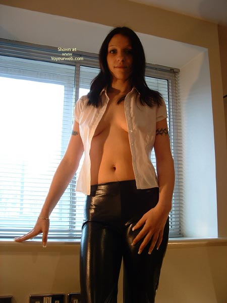Pic #1 Sexy Young Brunette In Pvc Pants