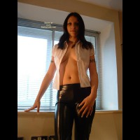 Sexy Young Brunette In Pvc Pants
