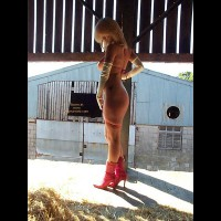 Blonde Bombshell In Pink Boots