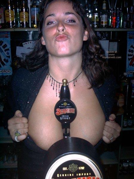 Beer Boobs - Cleavage , Beer Boobs, Puckered Lips, Boobs Peeking, In A Bar, Bar Cleavage, Tapping The Boobs