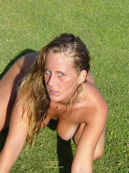 Tanlines - Tan Lines , Tanlines, Naked Outdoor, Blonde Tanned Boobs, Kneeling On Grass