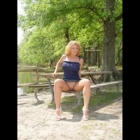Sitting Spread Legs - Blonde Hair, Spread Legs , Sitting Spread Legs, Blue Dress, White High Heeled Sandals, Short Curly Blonde Hair, Bottomless Outdoors