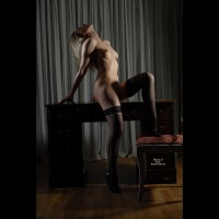 Black Stocking Elegance - Erect Nipples, Stockings, Naked Girl, Nude Amateur , Classy Pose, Naked On Desk, Nude With Shadows, Exposed Neck, Black Thigh Highs, Black Theigh High Stockings, Fit Body, Black Stillettos