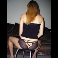Rear Shot Of A Seated Girl , Rear Shot Of A Seated Girl, See Through Nylon Panty