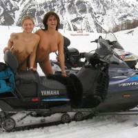 Two Naked Girls - Blonde Hair, Snow , Two Naked Girls, Blonde And Brunette, Girls In Snow, Boobs In Snow, Snow Mobile Boobs