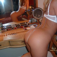 White Bra - Bra, Long Hair , White Bra, Naked Ass, Mirror Reflection, Long Blonde Hair, Side View In Front Of Mirror, In Front Of Vanity
