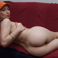 Ass Shot From Behind - Firm Tits, Perky Tits, Round Ass, Small Breasts, Small Tits , Nice Round Ass, Bubble Butt, Looking Over Shoulder, Lying On Red Couch Looking Back, Lying On A Couch, Butt To Camera, Cupping Breasts, Small Firm Tits, Over Shoulder Ass Shot, Itty Bitty Titties, Pouting Look
