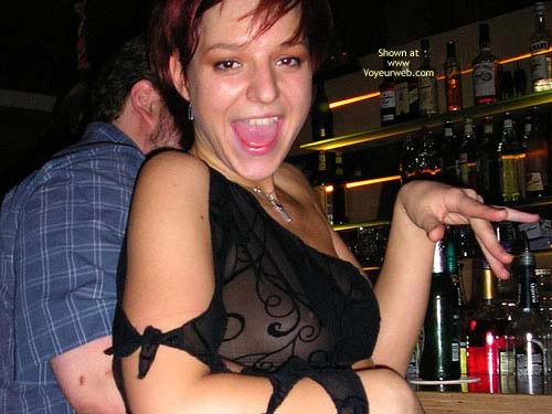Party Girl - Top , Party Girl, Seethrough Top, Black Top, Dress Sexy, Nipple Seethrough, Open Mouth, Red Hair Drunk Girl