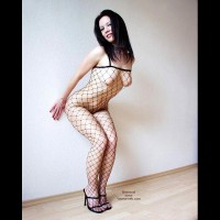 Up Against The Wall - Bend Over, Black Hair, Heels , Up Against The Wall, Flirty Black Fishnet, High Heels, Bending Over, Black Hair, Caught Up In Some Net, Nipple Tipped Torpedos