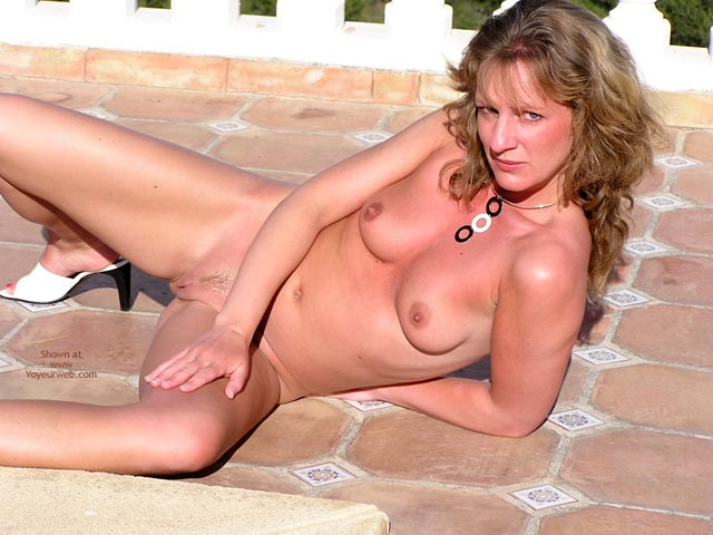 Bright Sunshine - Long Hair, Skin , Bright Sunshine, Red Painted Toe Nails, Red Sunburnt Skin, Lounging Naked Next To Pool, Long Blond Hair, Flashing Pussy Outdoors, White High Heels
