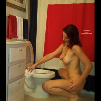 In The Bathroom , In The Bathroom, Cleaning While Naked, In The Toilet, Squatting, Cleaning