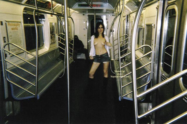 Topless In Public Transportation , Topless In Public Transportation, Flashing Boobs, Short Shorts, Topless Subway