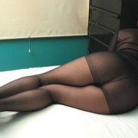 Black See-thru, Rear View , Reclining In A Shear Bodysuit, Shear Bodysuit From Behind, All In Black, Ass And Legs In Pantyhose, Ass In Black Pantyhose
