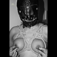 Masked And Tightly Tied Up Breasts - Bondage , Playing With Nipples, Nipple Tweak, Masked Face, Bondage Face Mask, Pinched Nips, Woman In Bondage, Twisted Rope Withoout Knots, Bondage Leather