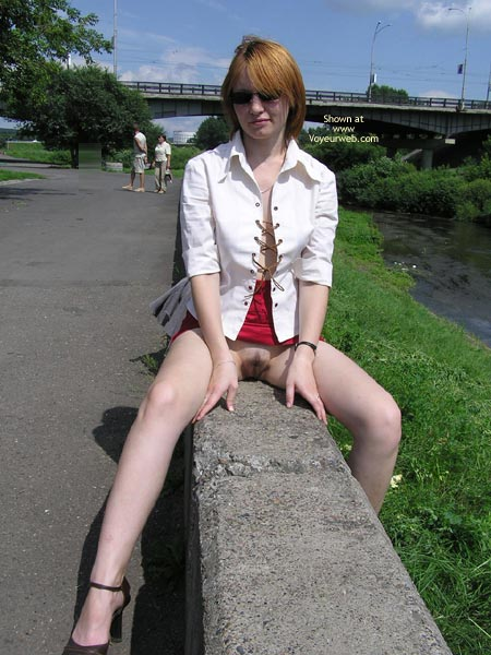 Pussy Eip - Flashing, Nude In Public, Pale Skin, Red Hair, Sunglasses , Pussy Eip, Sunglasses, Pussy Flash, Sunday Stroll, Pulled Up Red Skirt, Secret Flash, Straddling In Public, Shaved Lips, Commando Pose On Fence, Red Hair, Pale Skin