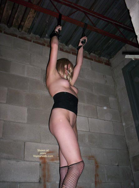 Outbuilding Tied Girder - Fishnet, Stockings , Outbuilding Tied Girder, Tied Up Blonde, Fishnet Stockings, Held Captive Hanging Arms, Stockings Torn Pulled Down, Fishnet, Tied To Ceiling