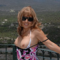 Flashing Tits Outdoors - Blonde Hair, Flashing, Sunglasses, Topless , Showing Tits, Topless At Railing, Baring Breasts On Balcony, Dirty Blond Hair, White Bra With Thin Black Stripes, Floral Print Dress, Dark Sunglasses, Countryside Tits, Black Watchband, Showing Off, Arms Back, Tits Out, Showing Boobs Outdoors