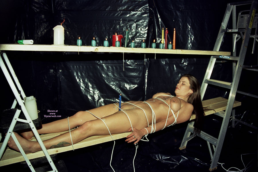 Naked Girl In Bondage - Bondage, Pierced Nipples , Bound In Rope, Laying On Back, Waxed And Tied, Burning Candle In Pussy, Strapped Up And Waxed Up, Tied Up, Candle Play