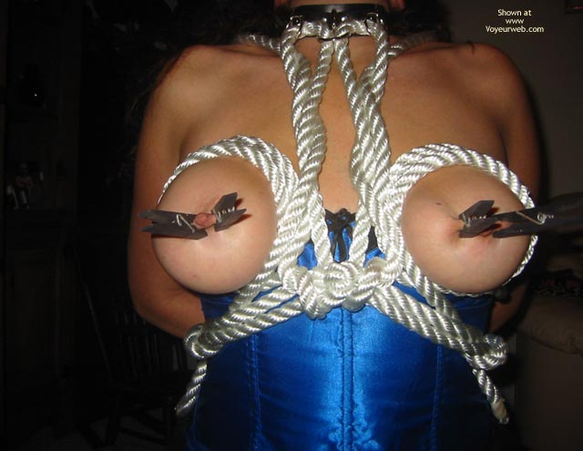 Painful Nipples - Nipples , Painful Nipples, Tied Tits, Pinched Nipples, Pleasure And Pain, Clipped Nips, White Rope Breast Harness, Black Clothespins, Choker, Blue Satin Corset