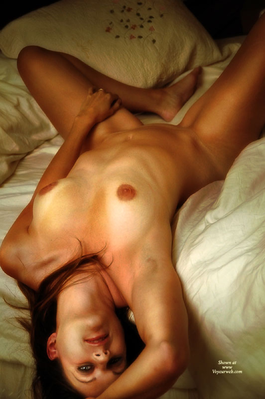 Reclining Nude On Bed With Eye Contact - Blue Eyes, Brown Hair, Brunette Hair, Long Hair, Long Legs, Tan Lines, Looking At The Camera, Naked Girl, Nude Amateur, Sexy Legs , Legs Apart, Fully Nude On The Bed, White Sheets, Brunette Long Hair, Tan Legs, Sexy Blue Eyes, Tan Lines On Tits, Nude On Bed