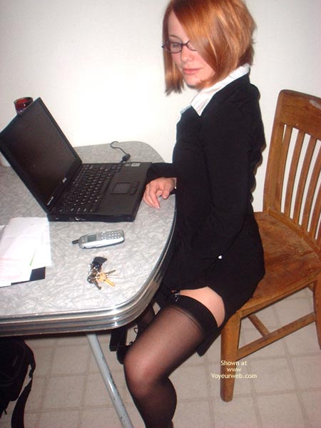 In Front Of Laptop - Stockings , In Front Of Laptop, Black Stockings, Girl On A Chair, Sexy In Front Of Computer, Bussiness Attire