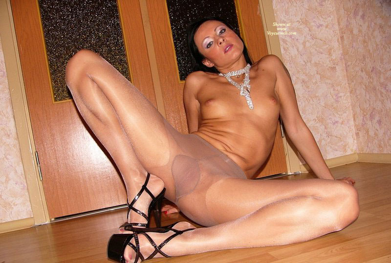 wide Pantyhose legs spread