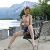 Flashing In Public Frontal View - Exhibitionist, Flashing, Hard Nipple, Perfect Tits, Topless , Topless Outdoors On Bench, Sexy Redhead, Topless On Waterfront, Sandled Feet, Sitting On Bench By Water, Naked Outdoors, Open Legs On A Bench Near A Lake, Trim Legs