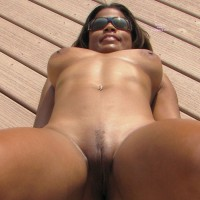 Nude On The Deck - Huge Tits, Spread Legs, Sunglasses, Trimmed Pussy, Naked Girl, Nude Amateur , Dark Skin, Pierced Belly Button, Girl With Sunglasses, Laying On A Wooden Deck, Lying On Her Back, Lying On Ground