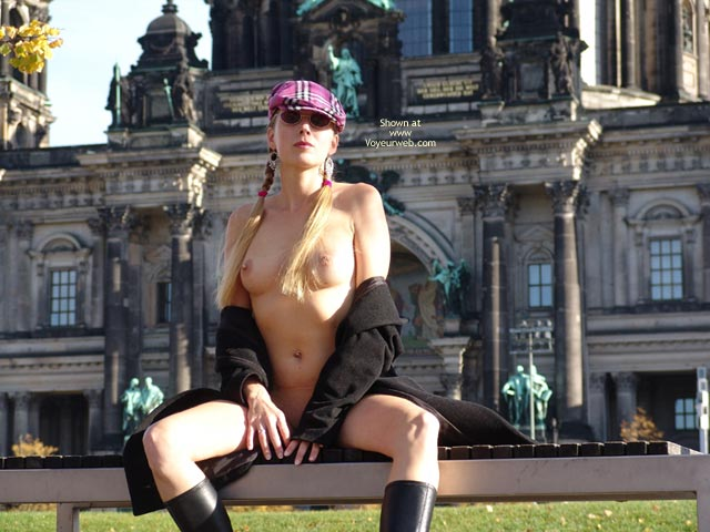 Flashing With Open Coat - Exhibitionist, Flashing Tits, Flashing, Stockings, Sunglasses, Nude Amateur , Naked Royal, Pink Plaid Cap, Black Coat Open, Sightseeing Nude, Two Pig Tails And Boobs, Blond Pigtails, Boots Overcoat And Hat, Nothing Else, Black Boots, Round Sunglasses