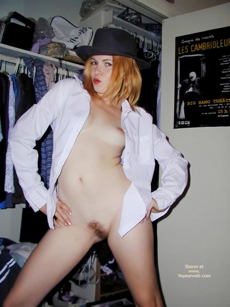 Dress Shirt - Blonde Hair, Flashing, Small Boobs , Dress Shirt, Blonde, Black Hat, Small Boobs, Private Flash, Tiny Tits