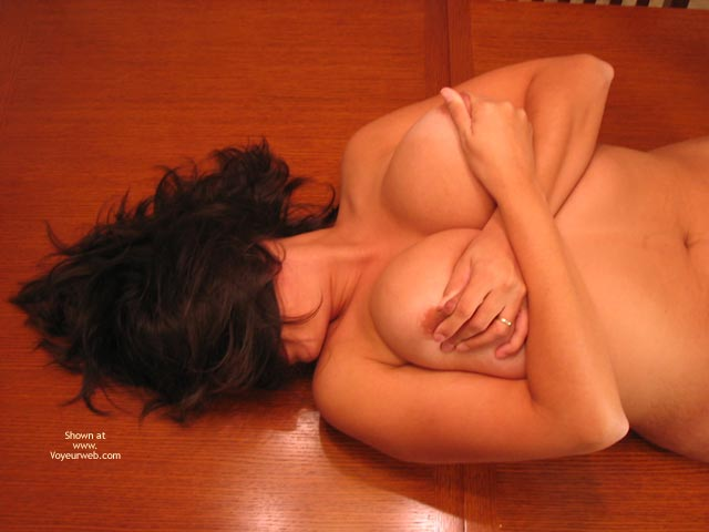 Nipple Pinch , Nipple Pinch, Dark Hair, Girl Lying On Floor, Playing With Her Nipples