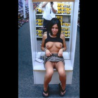 Shoe Store Flashing - Black Hair, Flashing Tits, Flashing, Landing Strip, Long Hair, Pussy Flash , Black Tank Top, Exposed Boobs, Black Flip Flops, Peakaboo, Denim Jeans Pulled Up, Pubic Hair Landing Strip, Flashing In Shoe Store