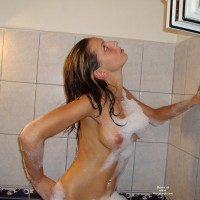 Nude Upper Torso From Side With Soap Suds - Perfect Tits, Naked Girl, Nude Amateur , Belly Button Ring, Wet And Soapy, Standing In Tub With Suds, In Tub Looking Up, Wearing Nothing But Bubbles, Soapy Nipples, Posing In Tub, Hand On Hip, Soap-bubble Covered, Looking Straight Up