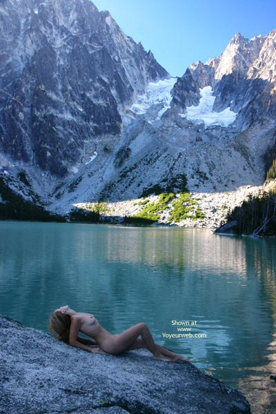 Lying Naked In Front Of Huge Mountians , Lying Naked In Front Of Huge Mountians, Naked Lake, Naked On Rock, Naked In Landscape, Naked In Alpine