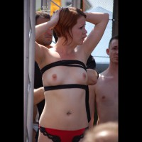 Girl Showing Tits In Public - Erect Nipples, Small Tits, Topless , Bound Breasts, Hands On Head, Boob Tube, Looking At Topless Girl, Short Straight Redhead, Roped Tits, Belly Jewelry, Arms Lifted, Short Auburn Hair