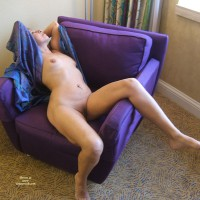 Naked Girl Reclining On Purple Overstuffed Chair - Navel Piercing, Shaved Pussy, Naked Girl, Nude Amateur , Mature Woman, Pierced Belly Button, Leg Over Chair Arm, Fully Shaved Pussy, Hands Behind Head, Nude Reclining In Chair, Purple And Pink