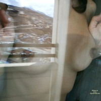 Pressed Nipples Under Glass - Brunette Hair, Erect Nipples , Firm Breasts, Behind Window, Fit Body