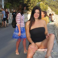 Exposed Pussy In Public - Dark Hair, Exhibitionist, Flashing, Long Hair, Hairless Pussy, Pussy Flash , One Leg Raised Higher, Pussy Flashing, Exposure For Everyone, Beaver On The Wall, Public Flashing, Pantieless, Fully Shaved, Legs Apart In Public, Pantiless Outside, Shaven Vagina