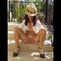 Legs Spread With Hands Over Pussy - Black Hair, Brown Hair, Heels, Long Hair, Spread Legs, Trimmed Pussy , Holding Urgent Piss On Stairs, White Bra, White Blouse, Black Open Toe Shoes, Cowboy Hat, Pantieless, Handscovered Pussy