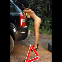 Naked Girl Changing Flat In Forest - Big Tits, Black Hair, Brown Hair, Hanging Tits, Long Hair, Long Legs , Big Breasts, Slender Body, Naked In Heels, Luscious Long Legs, Tanned Legs