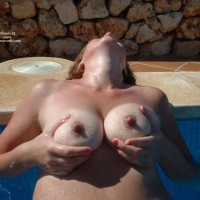 Topless Milf In Pool Holding Tits - Hard Nipple, Milf, Tan Lines, Topless , Large Breast, Cold And Wet, Visible Tan Lines, Holding Her Tits, Topless Wife, Goose Bumps, Laid Back Holding Tits In Pool, Large Erect Nipples