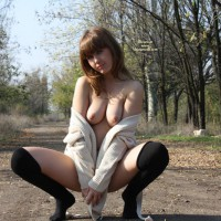 Topless Girl Squats On Footpath In The Woods - Brown Hair, Flashing, Nude In Public, Stockings, Topless, Naked Girl, Nude Amateur , Pendulous Droopy Tits, Squeezing Tits Together, Pulling Sweater Aside, Outdoors With Stockings, Outdoor Flashing, Topless Squatting, Nude In Public Area, Autumn Outdoors, Squatting, I Promise I Won't Stop This Time