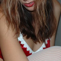 Red Bra With With White Trim - Stockings , Red Bra With With White Trim, White Stockings