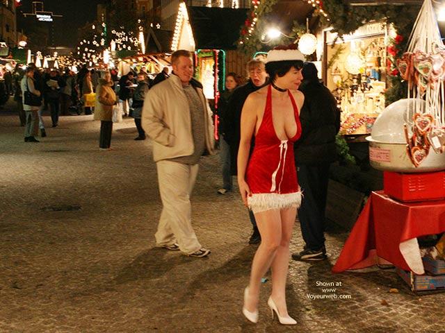 Exhibitionist - Exhibitionist , Exhibitionist, Provocative Dress, White High Heels, White Thigh Highs, Santas Little Helper