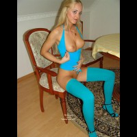 Turquois Stockings - Chair, Stockings , Turquois Stockings, Blond Flashing Tits, Chair, Black High Heeled Sandals, Blonde With Puffy Nips