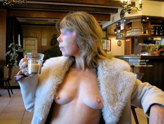 Breast In Public - Hard Nipple , Breast In Public, Tits Exposed In A Restuarant, Fur Collar Coat, Coat Open To Show Hard Nipples