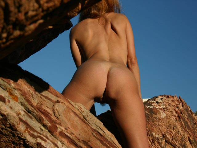Blond Nude Woman On Rocks - From Behind , Blond Nude Woman On Rocks, Pussy Hair From Behind, Wfi On The Rocks, Naked Rock Climber