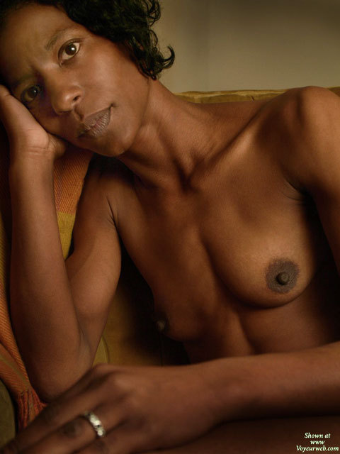 Beautiful Mature Black Woman - Black Hair, Topless , Classy Pose, Topless Black Portrait With Eye Contact, Slim Body, Long Neck, Hard Bodies, Topless Indoor Sitting, Full Lips, Brown Eyes