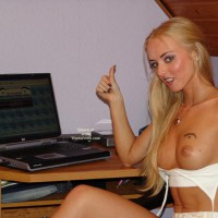Topless Blonde Works At  Laptop , Topless Blonde Works At  Laptop, Dark Eyed Blonde, Voyeurweb Label, Top Peeled Open