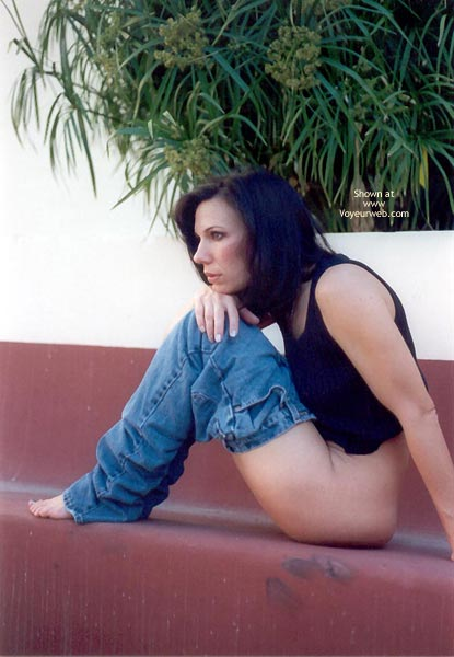 Jeans Pulled Down - Black Hair, Top , Jeans Pulled Down, Girl Sitting Bareass, Black Top, Black Hair